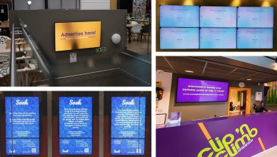 Examples of digital signage installed by Hughes