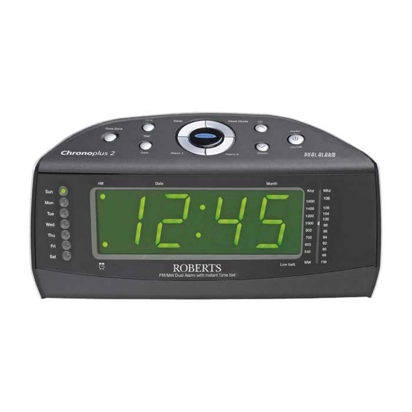 roberts radio chronoplus2 clock fm mw radio with dual alarm instant time set hughes. Black Bedroom Furniture Sets. Home Design Ideas