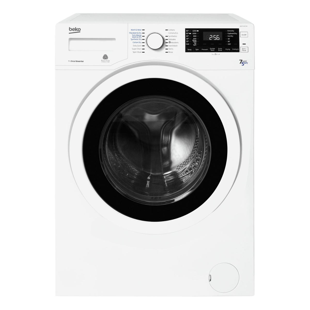 Beko WDJ7523023W Freestanding Washer Dryer with 7kg Wash and 5kg Dry Load Capacity in White Hughes