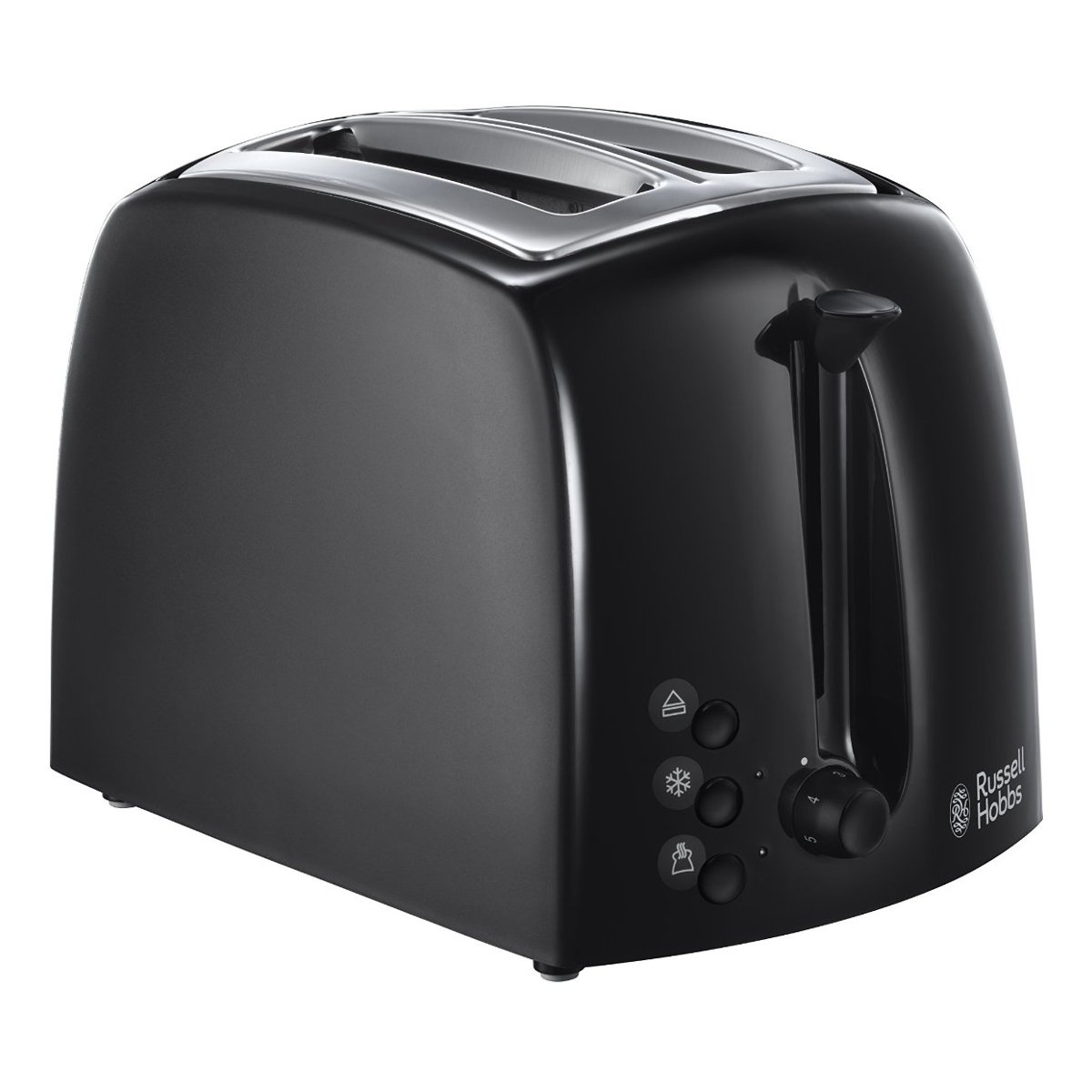 russell hobbs 21641 2 slice toaster with removable crumb tray and wide slots in black hughes. Black Bedroom Furniture Sets. Home Design Ideas