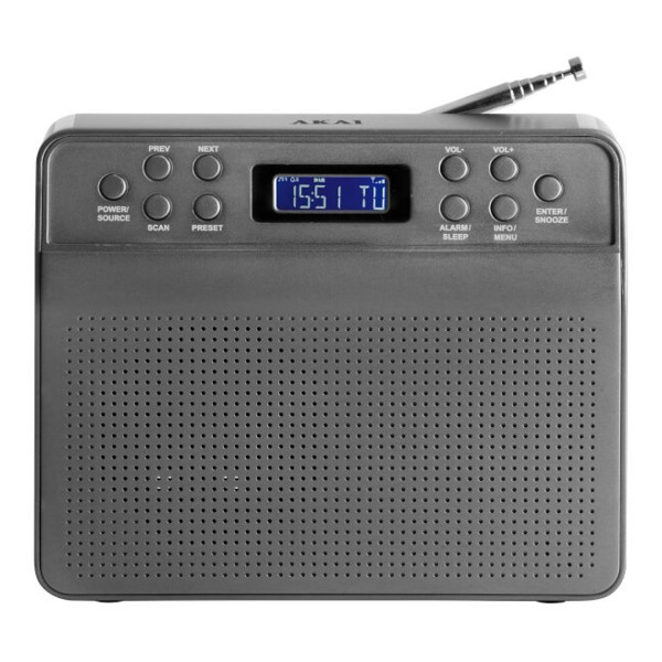 Compare cheap offers & prices of AKAI A60013G Portable DAB Radio with LCD Screen in Grey manufactured by Akai