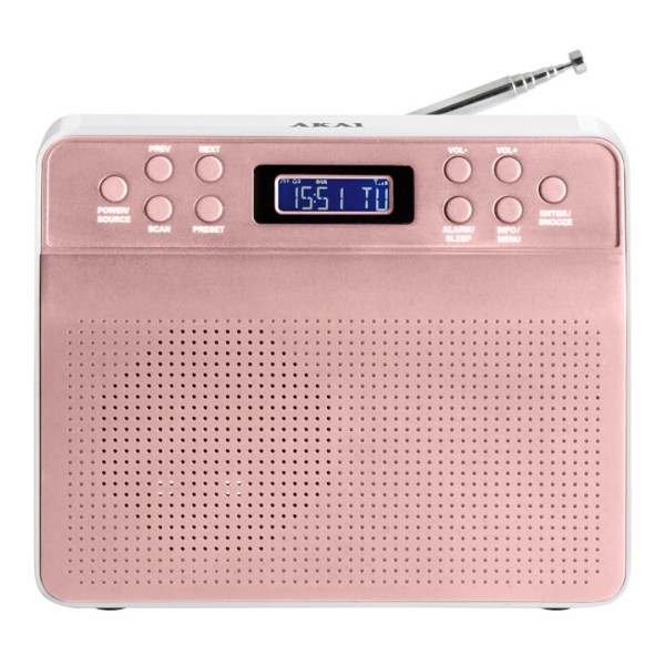Compare retail prices of AKAI A60013R Portable DAB Radio with LCD Screen in Rose Gold to get the best deal online