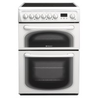 Hotpoint 60HEP 60cm Electric Double Cooker with Ceramic Hob - White