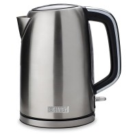 Hughes 183446 Sleek Kettle with 1.7L Capacity and Water Level Gauge in Stainless Steel