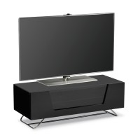 Image of 1000mm TV Cabinet Cable Management High Gloss Black