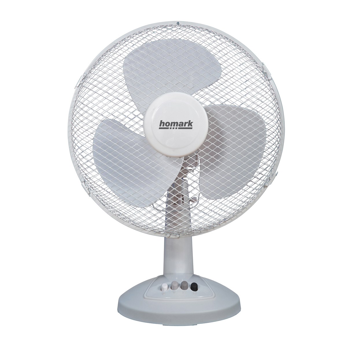 homark 12 desk fan with 3 speed settings oscillating tilting head in white hughes. Black Bedroom Furniture Sets. Home Design Ideas