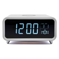Image of GROOV-E Athena Alarm Clock with Wireless Charger - White, White