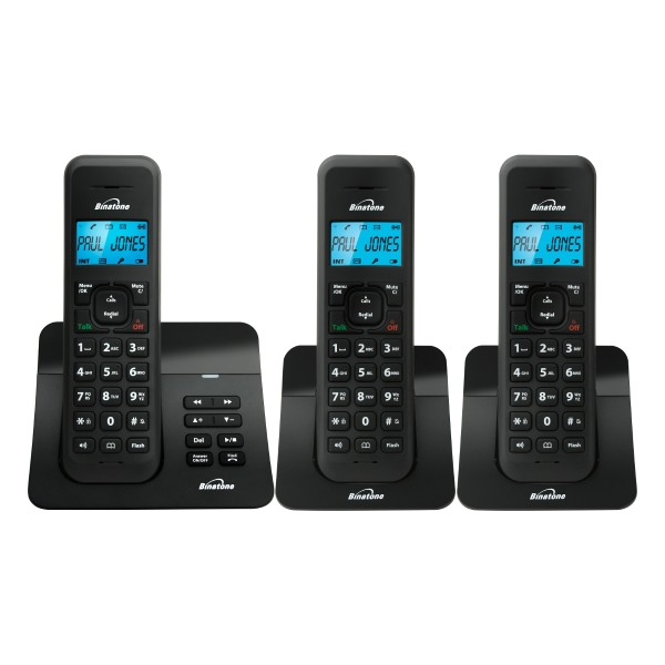 Cheapest price of Binatone LUNA1120S-TRIO Three Cordless Phones with Answer Machine in Black in new is £39.99