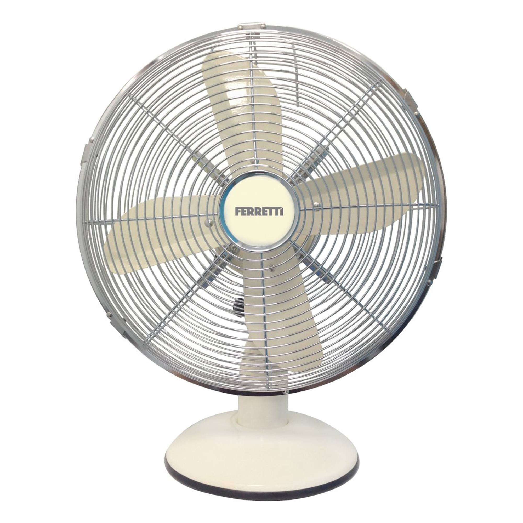 Ferretti Fertdf120cr 30cm Retro Metal Desk Fan In Cream
