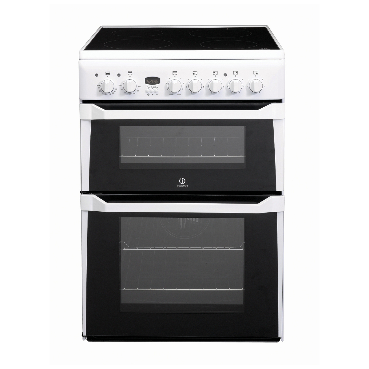 Indesit Id60c2ws Electric Double Cooker With Ceramic Hob