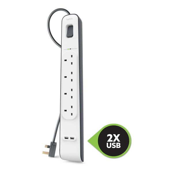 Compare cheap offers & prices of Belkin BSV401AF2M 4 Socket Surge Protector Extension Cable - 2M manufactured by Belkin