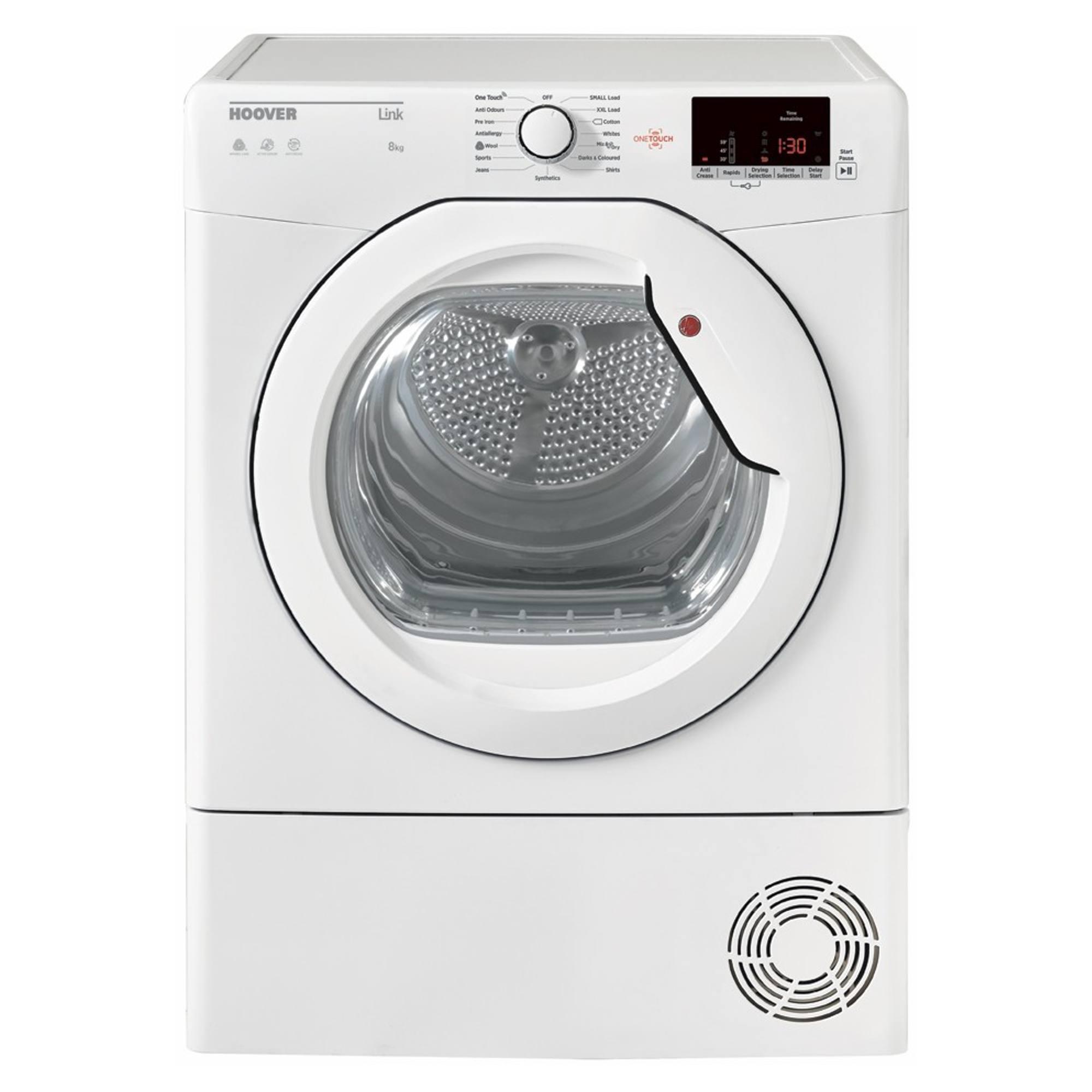 hoover hlc8dcg 8kg condenser tumble dryer white hughes. Black Bedroom Furniture Sets. Home Design Ideas