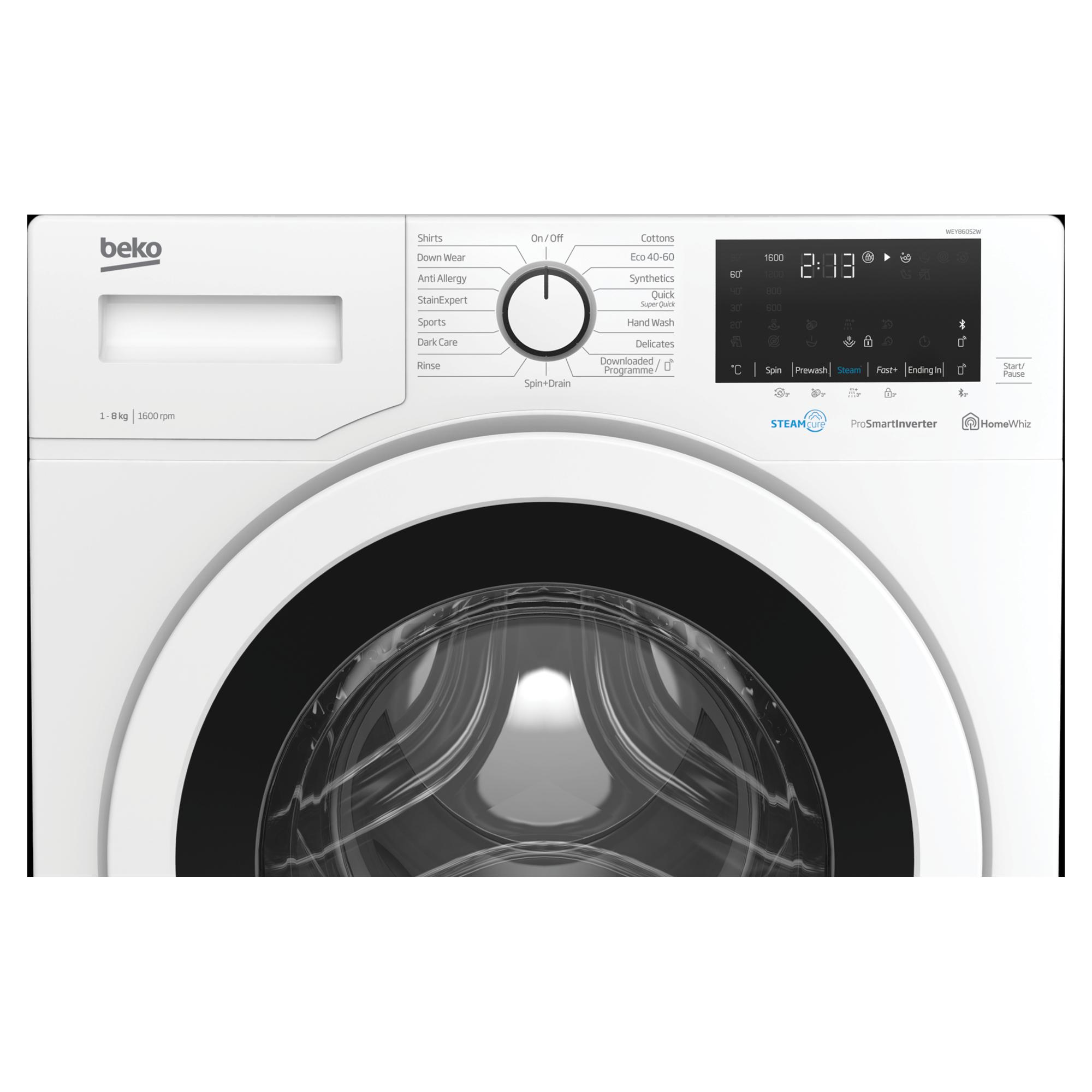 Beko WEY86052W 8kg 1600rpm Washing Machine with SteamCure