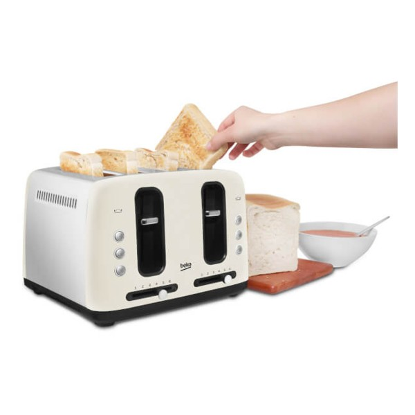 Compare cheap offers & prices of Beko TAM7401C Traditional 4 Slice Toaster with 6 Browning Levels in Cream manufactured by Beko